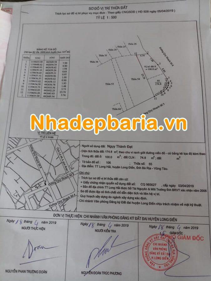 Đất thị trấn Long Hải 174 m2 bán